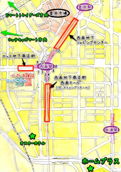 釜山 西面 地図